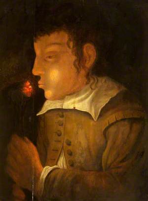 A Boy Blowing on an Ember