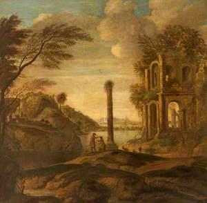 Figures Conversing in a Capriccio of Ruins in an Estuary Landscape