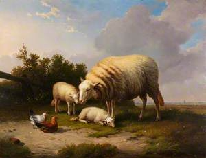 A Sheep, Two Lambs, a Cock and a Hen in a Landscape