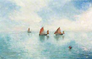 A Calm Sea with Three Small Sailing Boats