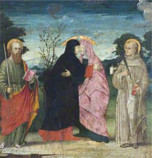 The Visitation with Saint Paul and a Franciscan Martyr Saint