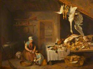 Game Herder with Dead Game, an Old Woman Plucking a Partridge and a Boy