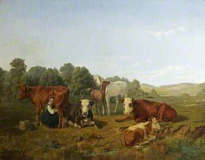Milkmaid with Cows and Horses in a Field