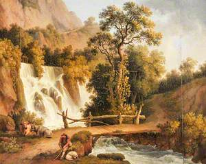 Landscape with a Waterfall and a Cowherd in the Foreground