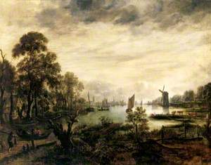 A River Scene with a Windmill