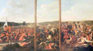 A Triptych of Scenes from the Battle of Blenheim, 1704: (1) The Attack of the Village (2) A Brigade of French Foot Cut Down when Abandoned by Their Horse (3) Prince Eugene of Savoy Attacking the Left Wing of the French Army
