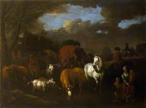 A Figure, Animals and Wagons Crossing a Stream