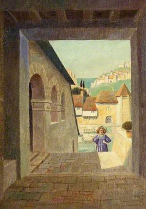 Girl Ascending a Staircase in a Walled Town