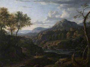 Classical River Landscape with Figures on a Road and a Distant Town