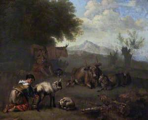 Cattle and Sheep with a Young Woman Milking a Goat