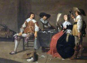 Three Cavaliers and a Lady Playing Cards