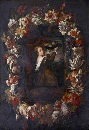 'Titian's Daughter' in a Wreath of Flowers