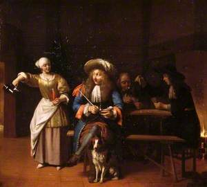 The Empty Jug: A Tavern Scene with a Serving Wench, a Gentleman with a Pipe and a Dog, and Card Players