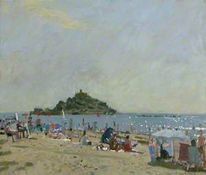 Morning, Marazion Beach Scene, with St Michael's Mount, Cornwall, in the Distance