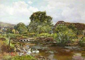 'Chagford Mill', the River Teign with Stepping Stones and Ducks