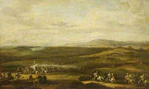 An Extensive Landscape with a Cavalry Charge