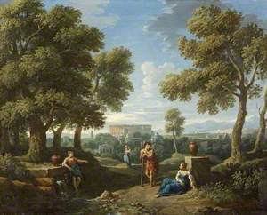 A Classical Landscape, with Figures Conversing by a Fountain
