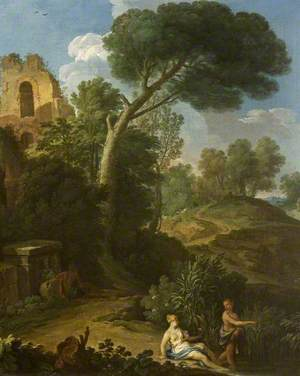 Landscape with a Ruin and Two Figures on a Road