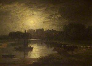 Windsor and Eton from Clewer Meadows by Moonlight