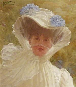 Alda Weston (d.1947), Lady Hoare, in a White Hat