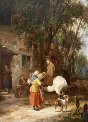 Man on a Horse Being Served Outside an Inn
