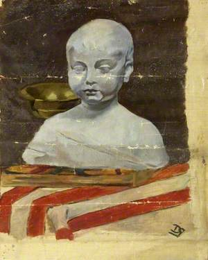 Bust of an Unknown Boy, on a Red and White Striped Plinth