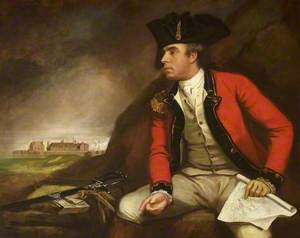 Captain Sir Thomas Hyde Page (1746–1821) Holding a Plan of Fort Landguard and Seen in the Distance