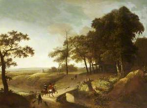 A Wooded River Landscape with a Hawking Party Crossing a Bridge