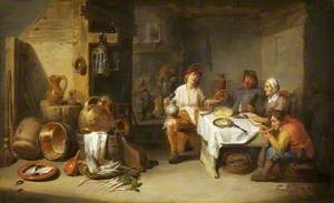 A Poor Company at a Table in a Rustic Kitchen (Le petit chaudron)
