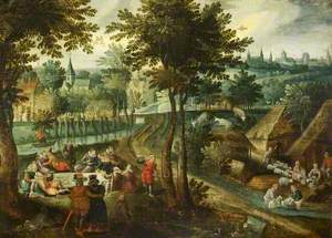 Landscape with a Picnic and Sheep-Dipping