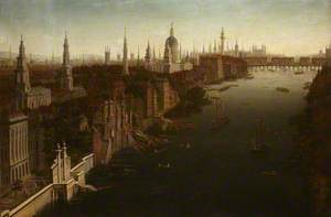 View of London with York Steps, St Paul's and Old London Bridge