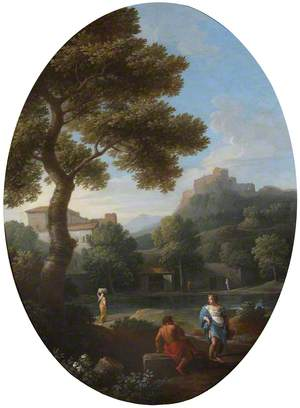A Classical Landscape with a Man and a Woman Conversing and a Distant Hill Town and Castle