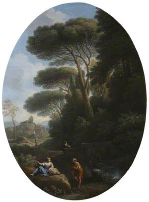 A Classical Landscape with a Man and a Woman Conversing