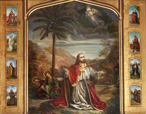 Christ in the Garden of Gethsemane Surrounded by Eight Figures of Saints