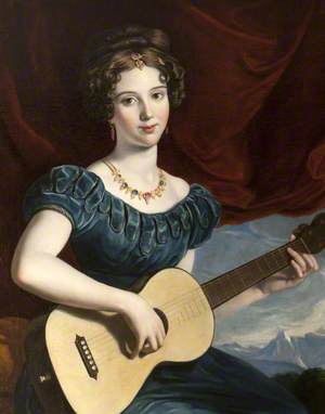 A Lady of the Petre Family Playing the Guitar