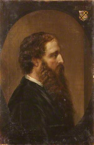 Edward Heneage Dering (1826–1892), in Profile to the Right, in a Painted Oval