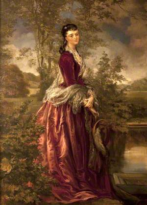 Beatrice Mary Petre (1858–1930), Mrs Henry Ferrers Ferrers, Standing in a Rural Landscape