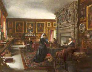 The Great Hall, Baddesley Clinton, with Mr and Mrs Marmion Ferrers, Edward Heneage Dering and Lady Chatterton (Mrs Dering)
