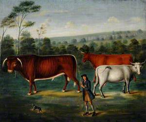 Long-Horned Cattle with a Cowherd in a Landscape