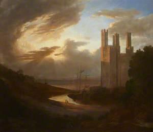 View of Caernarvon Castle with the Menai Strait
