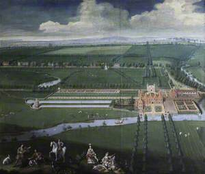 A Bird's-Eye View of Charlecote Park, Warwickshire, from the West