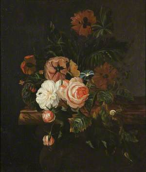 Roses and Poppies and a Snail