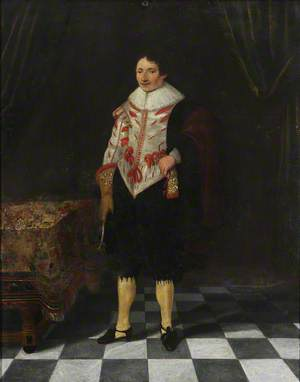 Portrait of an Unknown English Gentleman Standing in an Interior