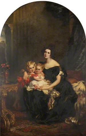 Elizabeth Acton (d.1850), Lady Throckmorton with Two of Her Children, Courtenay Throckmorton (1831–1854), and Mary Elizabeth Throckmorton (1832–1919)