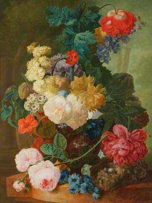 Roses, Peony, Auricula and Fritillary in a Vase