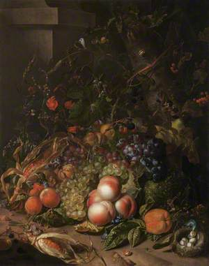 Still Life with Fruit, a Bird's Nest and Insects