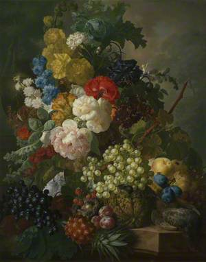 Still Life with Roses, Larkspur and Fruit, with a Partridge