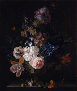 Still Life with Roses, Tulips, Hyacinths and Other Flowers in a Classical Urn