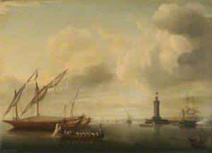 Harbour Scene with a Lighthouse and a Barge Being Rowed Past a Maltese Galley