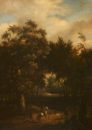 A Wooded Landscape with a Rider on a Prancing White Horse